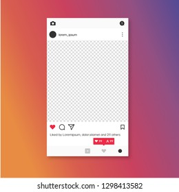 Social media photo frame template stories mobile interface. Social network post. c for your photo. Mockup. Vector illustration. - Vector