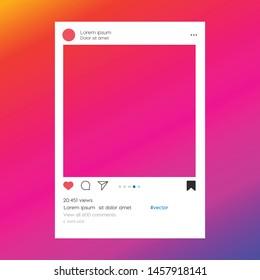 Social media photo frame template stories mobile interface. Social network post. Instagram Frame for your photo. Mockup. Vector illustration. - Vector