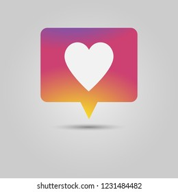 Social media popup notification message window icon with heart for love or like action
