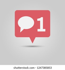Social media popup notification message window icon with speech bubble and number one for new comment