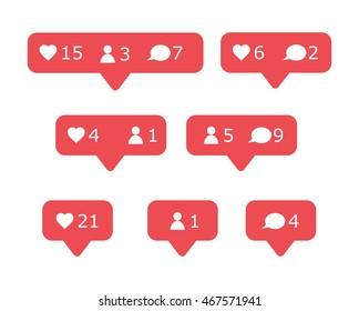Social media portal notification signs vector