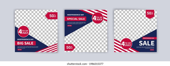 Social media post banner template for US independence day celebration. Banner vector for social media ads, web ads, business messages, discount flyers and big sale banners.