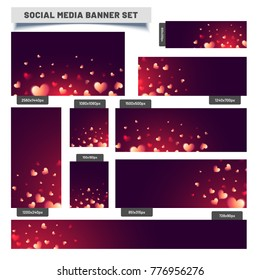 Social Media Post or Banners decorated with glossy red and golden hearts in different sizes for different social media platforms.