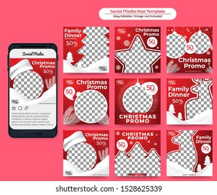 Social Media Post Christmas Theme for Food Promotion, good for Banner, Web Ads, etc in Red Background
