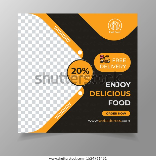 Social Media Post Food Promotion Offer Stock Vector Royalty Free 1524961451