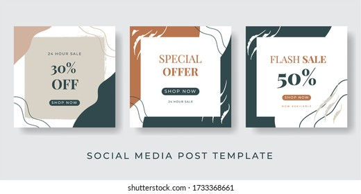 Social media post and story template creative Vector set. Background template with copy space for text and images design by abstract colored shapes, line arts , Tropical leaves warm color of the earth