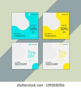Social media post template bundle design, vector premium