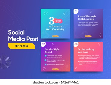 Social media post template with a cool topography design element and trendy gradient colors. Vol.1. Eps.10