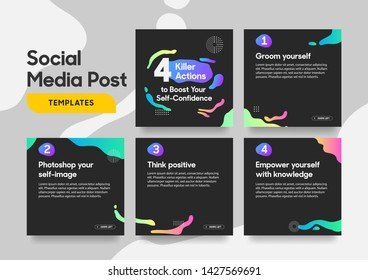 Social media post template with a cool fluid design element and trendy gradient colors. Vol.1. Eps.10
