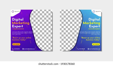 social media post template design for general business agency. Vector illustration with photo collage space.