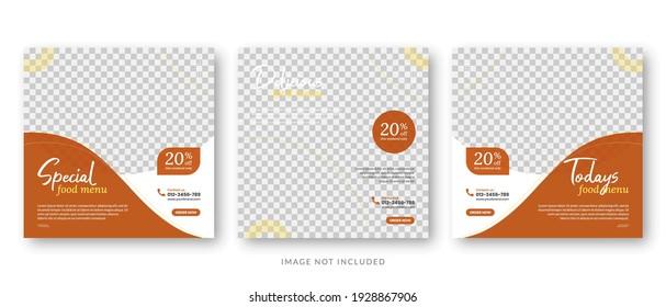 social media post template for food menu promotion banner frame