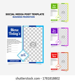 social media post template package and there is four template in the package with full colour style one
