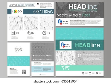 Social media posts set. Business templates. Abstract design template, vector layouts in popular formats. Chemistry pattern, hexagonal molecule structure on blue. Medicine, science, technology concept.