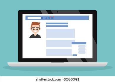 Social media profile page. Flat editable vector illustration, clip art