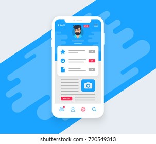 Social media profile settings page on smartphone. Vector illustration in flat design style