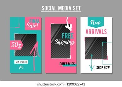 Social media promotion banners set. Vector graphic design templates for e-commerce services, shops, blogs.