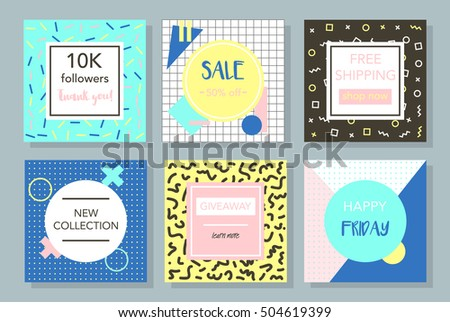 social media promotion graphic templates memphis stock vector