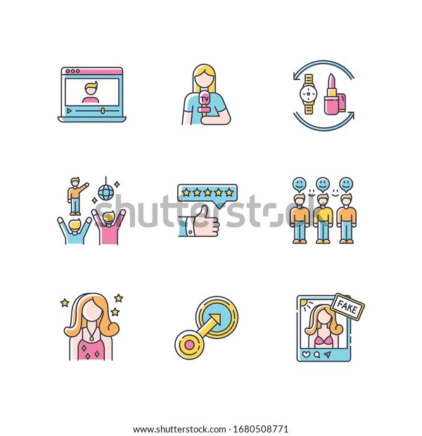 Social media promotion RGB color icons set. Vlogger influencer. Female journalist. Fake celebrity social media account. Barter of products. Loyal audience. Isolated vector illustrations