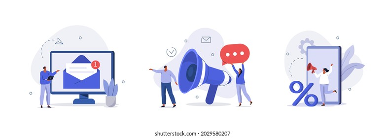 Social media promotion scenes. Characters using big loudspeaker to communicate with audience, sending advertising emails, offering sale and discount. Flat cartoon vector illustration and icons set.