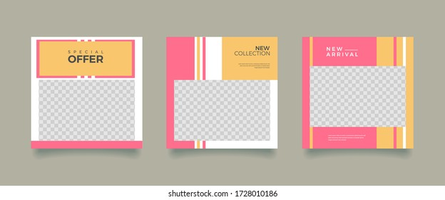 Social media promotion. Vector illustration with photo college. Editable square banner template