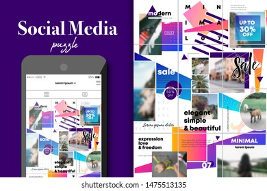 Social Media Puzzle Template Pack for creature your unique content. Modern ultra endless design banner, screen. app editorial service. Mockup for personal blog. Endless square puzzle for promotion. ad