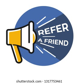 Social media refer friend isolated icon loudspeaker or megaphone vector sharing information offer repost bullhorn online info suggestion advice Internet connection web post sending recommendation
