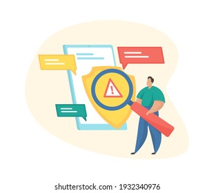 Social media regulation. Male cartoon character with a magnifying glass examines messages on the smartphone screen. User guidelines. Copyright protection. Flat vector illustration