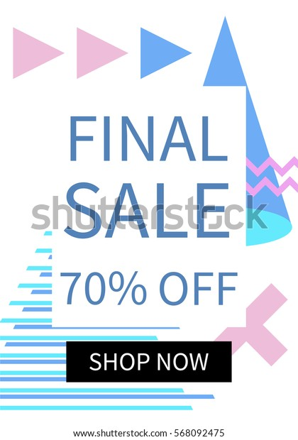 Social media sale banner template. Can be used for posters, banners, website, mobile website, ads. Memphis style. Vector illustration.