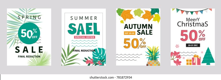 Social media sale banners. Vector illustrations for website and mobile website banners, posters, email and newsletter designs, ads, promotional material. Season, summer,spring,winter,atumn