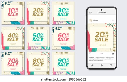 Social media sale post set with floral background. Trendy banner design template with leaves. Modern discount cards with 10, 20, 30, 40, 50, 60, 70, 80, 90 percent price off. Vector illustration.