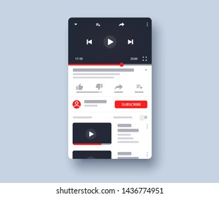 Social media screen template mobile video player. Mockup phone video player, app, ui. Blogging. Channel. Social media concept. Vector illustration. EPS 10