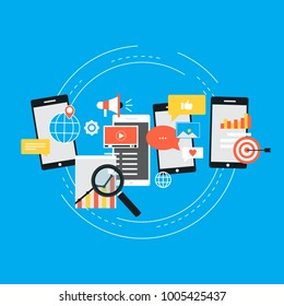 Social media, seo, networking, video marketing, navigation concepts. Flat design for web banners and apps. Vector illustration