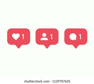 Social media set notifications icons: like, follower, comment. Vector illustration. EPS 10