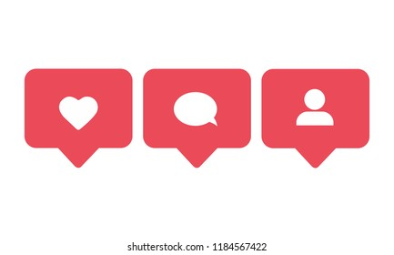 Social media set notifications icons: like, follower, comment. Vector illustration