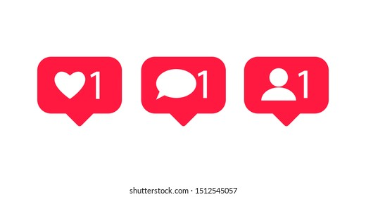 Social media set notifications icons. like, follower, comment. Vector illustration