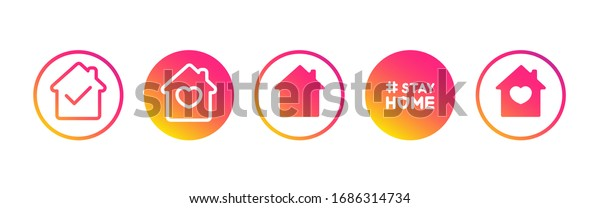Social media set in support of self-isolation and staying at home. Distancing measures to prevent virus spread. Covid19 signs. Stay home. Isolated icon set on white background perfect for posts, news.