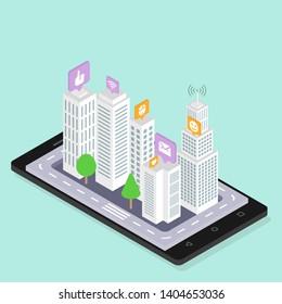 Social media smart city isometric illustration. Urban modern buildings, skyscrapers. Vector EPS 10