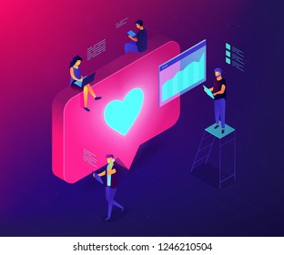 Social media specialists and analyst work with tablets and laptops and like. Social media engagement, in-platform messaging, SMM campaign concept. Ultraviolet neon vector isometric 3D illustration.