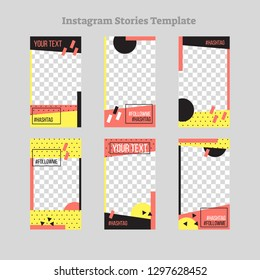Social media stories abstract flat style frame design, vector template collection. Geometric irregular shapes with dots, sample text and hashtag. Marketing communication modern branding set.