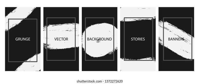 Social media stories banners set, story,grunge texture templates for cover, flyier, brochure, vector bright backgrounds collection.