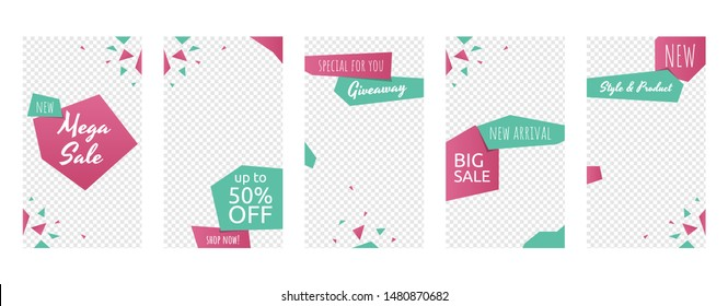 Social Media Stories Business Sale Marketing Promotion Banner Template Set