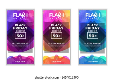 Social Media Stories Fluid template set with liquid abstract modern gradient background for banner sale, flash sale, Black Friday. Swipe Up Buttons vector eps10