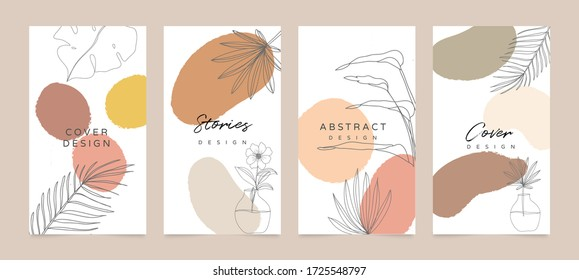 Social media stories and post creative Vector set. Background template with copy space for text and images. Abstract coloured shapes, line arts , floral and leaves, warm color of the earth tone