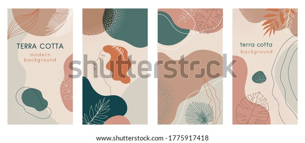 Social media stories set of abstract modern backgrounds with terra cotta pastel color combinations, shapes and tropical palm, monstera leaves, one line women face logo icon. For advertising, branding