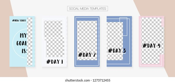 Social Media Stories SMM Template. Blogger Cards Vector Set. Graphic Brand Design Pack. Trendy App Kit, Blie White Grey Luxury Geometric Cover Patterns. Social Media Stories VIP Layout