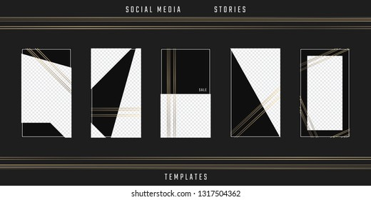 Social media stories template. Editable phone frames. Vector cards. Suitable for sale mockup, fashion blogger, designer, photographer, invitation, flyer. Story pack.