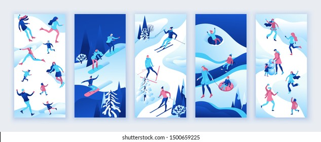 Social media stories vector set, story design templates, backgrounds, winter isometric people, sport family ice skating, skiing, snowboarding, playing snowballs, mobile wallpaper