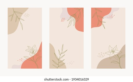 Social media story abstract floral template Trendy minimal organic background. Vector floral beauty backdrop pastel colors