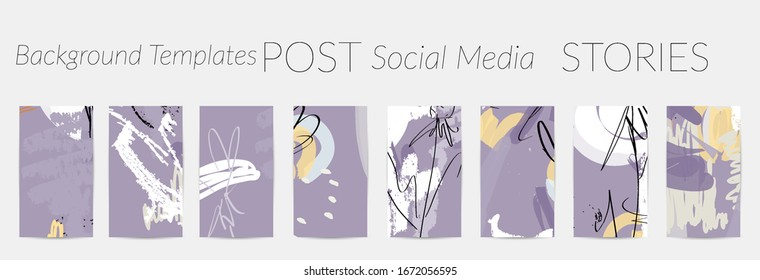 Social media story templates. Bright colored with hand drawn scribbles Easter holiday textures. Seasonal sale banner. Birthday party or anniversary invitation. Spring holiday art background set.