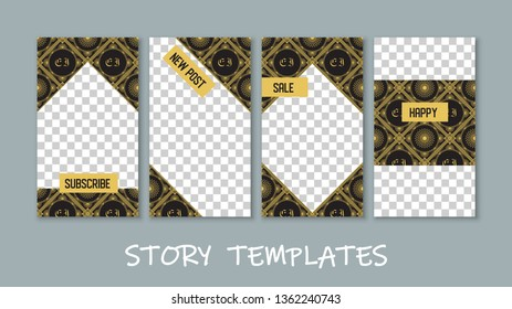 Social media story templates collection. Transparent checkered backgrounds. Subscribe. New post. Sale. Happy